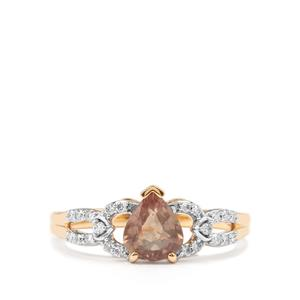 Padparadscha Sapphire Ring with Diamond in 18K Gold 1.29cts