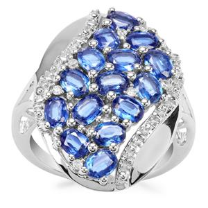 Daha Kyanite Ring with White Zircon in Sterling Silver 3.15cts