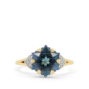 Wobito Snowflake Cut Jetstream Topaz Ring with Diamond in 9K Gold 5.45cts