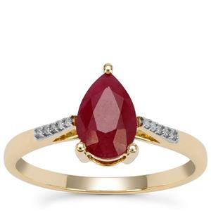 Burmese Ruby Ring with Diamond in 9K Gold 1.65cts