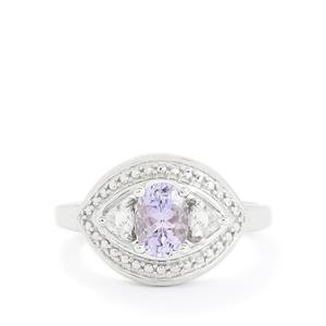 Tanzanite & White Topaz Sterling Silver Ring ATGW 0.88cts