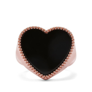 Black Onyx Ring in Rose Gold Plated Sterling Silver 11.50cts
