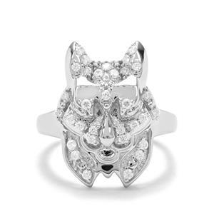 0.58ct White Zircon Sterling Silver Ring