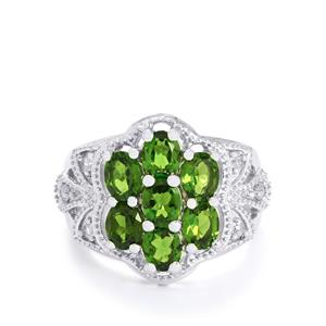 Chrome Diopside & White Topaz Sterling Silver Ring ATGW 2.91cts