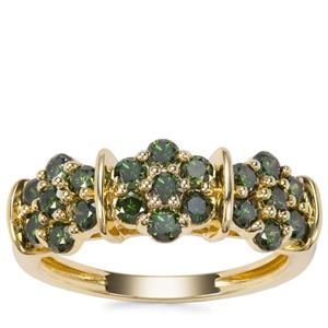 Green Diamond Ring in 9K Gold 1cts