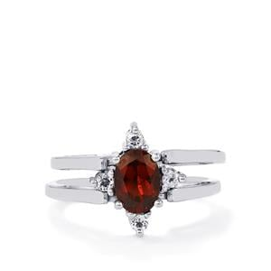 Mozambique, Rajasthan Garnet Reversible Ring with White Topaz in Sterling Silver 2.19cts