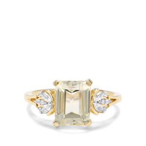 Minas Novas Hiddenite & White Zircon 9K Gold Ring ATGW 3.45cts