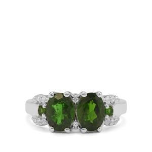 Chrome Diopside & White Zircon Sterling Silver Ring ATGW 2.61cts
