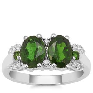 Chrome Diopside Ring with White Zircon in Sterling Silver 2.61cts