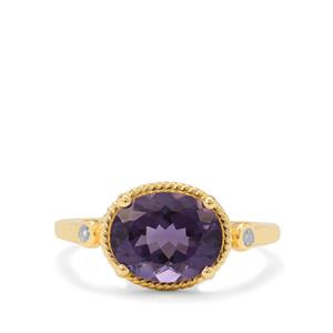 Blueberry Quartz Ring with White Zircon in 9K Gold 2.35cts