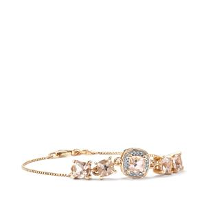Alto Ligonha Morganite Bracelet with Diamond in 10K Gold 2.45cts