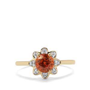 Zanzibar Sunburst Zircon Ring with Diamond in 9K Gold 1.25cts