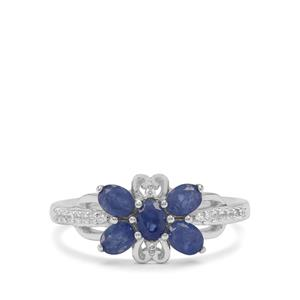 Burmese Blue Sapphire Ring with White Zircon in Sterling Silver 1.30cts