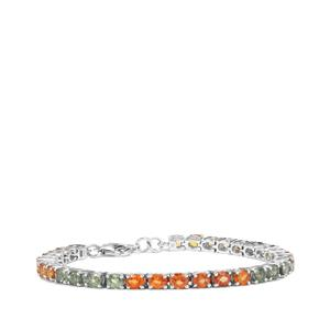 Rainbow  Sapphire Bracelet in Sterling Silver 15.25cts