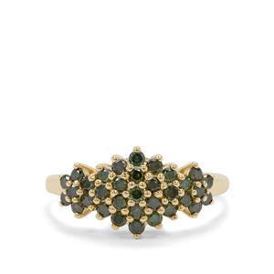 3/4ct Green Diamond 9K Gold Ring