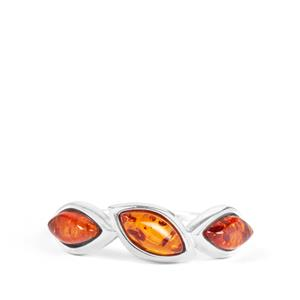 Baltic Cognac Amber Ring  in Sterling Silver (8x3.5mm)