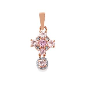 Imperial Pink Topaz Pendant with White Zircon in 10K Rose Gold 1.33cts