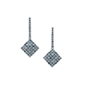 Blue Diamond Earrings in Sterling Silver 1cts
