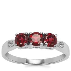 Octavian Garnet Ring with White Zircon in Sterling Silver 1.08cts