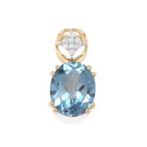 Santa Maria Topaz Pendant with Diamond in 10k Gold 4.18cts