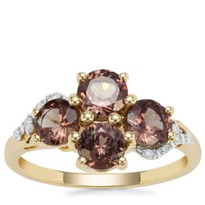 Bekily Colour Change Garnet Ring with Diamond in 9K Gold 2.32cts