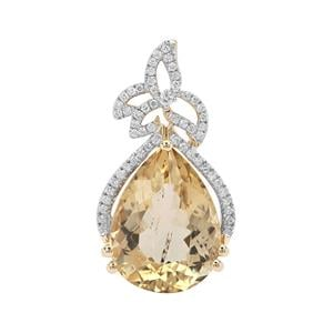 Imperial Scapolite Pendant with Diamond in 18K Gold 8.40cts