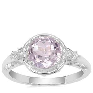 Brazilian Kunzite Ring with White Zircon in Sterling Silver 2.25cts