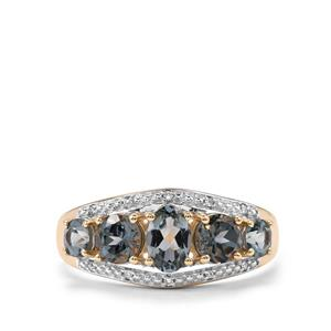 Mahenge Blue Spinel Ring with Diamond in 9K Gold 1.63cts