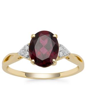 Tocantin Garnet Ring with Diamond in 9K Gold 2.42cts