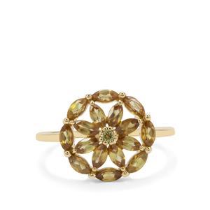 Ambilobe Sphene & Peridot 9K Gold Ring ATGW 1.47cts