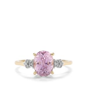 Mawi Kunzite Ring with Diamond in 9K Gold 2.61cts