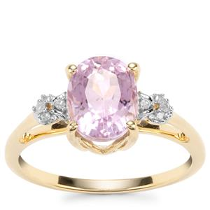 Mawi Kunzite Ring with Diamond in 10K Gold 2.61cts