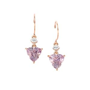 Lehrer Infinity Cut Rose De France Amethyst Earrings with Diamond in 10K Rose Gold 3.17cts