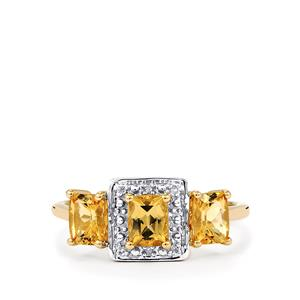 Ouro Preto Imperial Topaz & Diamond 10K Gold Ring ATGW 1.45cts
