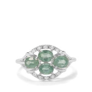 Odisha Kyanite & White Zircon Sterling Silver Ring ATGW 1.83cts