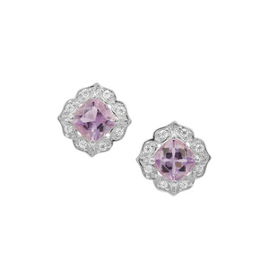 Rose du Maroc Amethyst Earrings with White Zircon in Sterling Silver 1.92cts