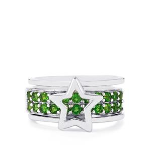 1.05ct Chrome Diopside Sterling Silver Set of 2 Stacker Rings