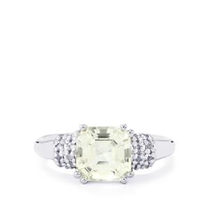 3.17ct White Topaz Sterling Silver Asscher Cut Ring