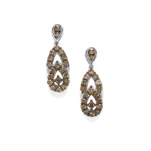 Champagne Diamond Earrings in Sterling Silver 2ct