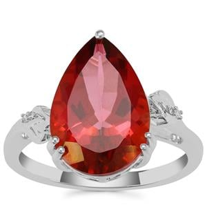 Cruzeiro Topaz Ring with Diamond in Sterling Silver 6.55cts