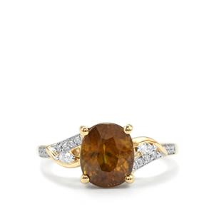 Ambilobe Sphene Ring with Diamond in 18K Gold 3.58cts
