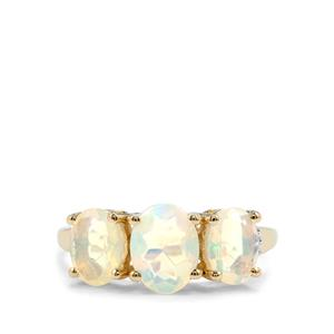 Ethiopian Opal & Diamond 10K Gold Ring ATGW 1.71cts