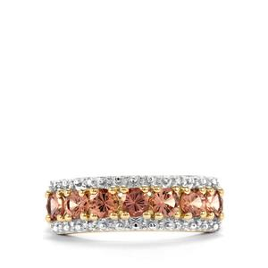 Natural Tanzanian Champagne Garnet Ring with Diamond in 10K Gold 1.18cts