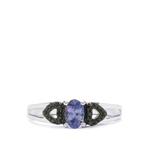 Tanzanite Ring with Blue Diamond in Sterling Silver 0.49cts