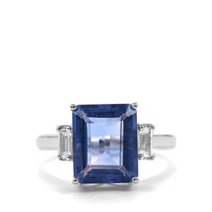 Baiyang Colour Change Fluorite Ring with White Topaz in Sterling Silver 5.96cts