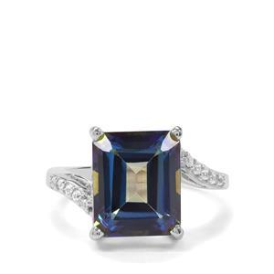 Mystic Blue Topaz & White Zircon Sterling Silver Ring ATGW 7.84cts