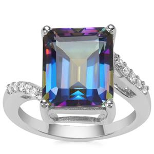 Mystic Blue Topaz Ring with White Zircon in Sterling Silver 7.84cts