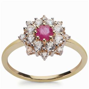 Montepuez Ruby Pendant with White Zircon in 9K Gold 2cts