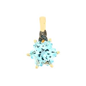 Sky Blue Topaz Wobito Snowflake Pendant with Blue Diamond in 10K Gold 5.11cts