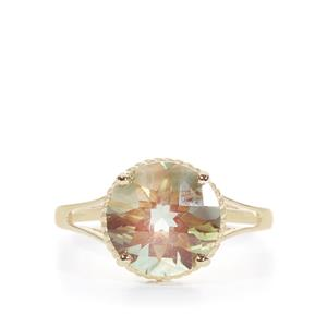 Green Andesine Ring in 9K Gold 3.30cts